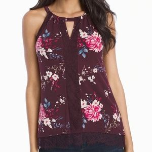 SLEEVELESS EMBROIDERED FLORAL TOP
